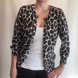 Banana Republic silk/cotton giraffe print cardigan